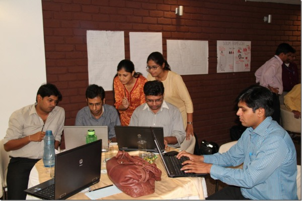 The girls (Shilpa and Pomey) instructing the boys