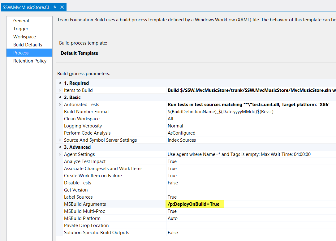 Create a webdeploy package on team foundation service adamstephensen figure to create the package edit the build process template and add pdeployonbuildtrue to the msbuild arguments to have a deployment package created maxwellsz