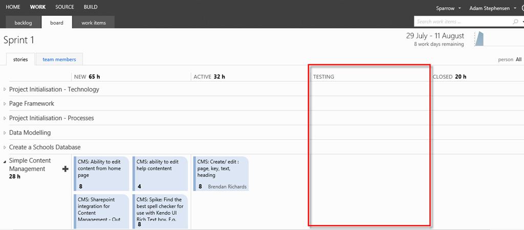 Adding a Testing Column to Your TFS 2012 Task Board | adamstephensen